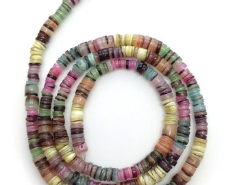 Hammershell shell, colorful, 5mm 1 strand, heishi, shell beads, shell beads, multicolor, multicolour, 1 beach