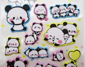 SUPER PUFFY Japanese mochi panda stickers! kawaii panda cubs, chubby baby panda, cute stickers, cute puffy stickers, kawaii stickers, kawaii
