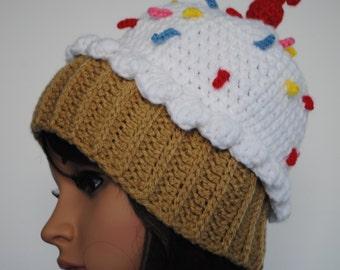 Crochet Cupcake Hat, Cupcake Hat, Fun Hat, Winter Hat, Cupcake Beanie, Cupcake Crochet Hat