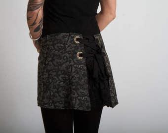 JUDITH ultra mini bustle skirt grey lace print