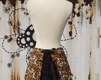 JUDITH ultra mini bustle skirt leopard print