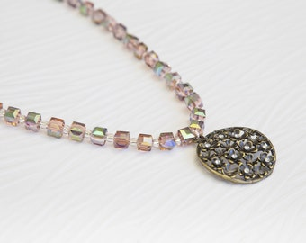 Rose Gold Flowers Necklace and Earrings Beaded Set