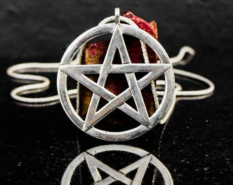 XL size Pentagram pendant, sterling silver, large Pentagram necklace, big pentacle necklace, wiccan jewelry, big silver Pentacle pendant