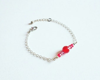 Bracelet silver and pearls orange cornaline and pink glass beads