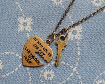 Small Unlock My Heart  and Key Love Romance Antique Pendant Charm Necklace