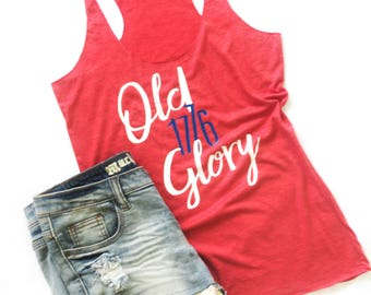 4th of July Women's Tank Top | 4th of July Shirt | 4th of July Tank | USA Tank Top | 4th of July Plus Size Tank | Red White Blue Tank Top