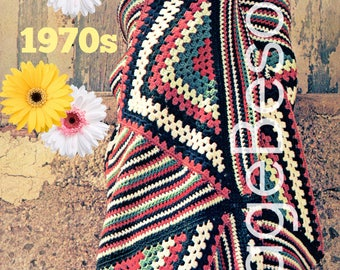 Boho Afghan 1970s Vintage Crochet Pattern PDF Instant Download Red White Blue Patriotic Stars Stripes Feminine Great in Man's Apartment too