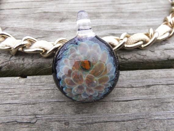Opal Pendant UV Pendant Opal Glass Pendant Implosion Pendant Necklace Blown Glass Pendant Focal Bead Boro Pendant Heady Glass Pendant