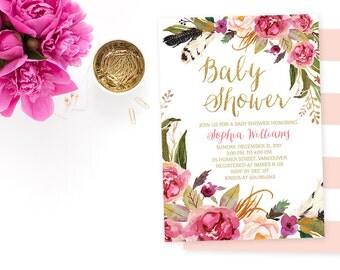 Pink Gold Baby Shower Invitation Floral Girl