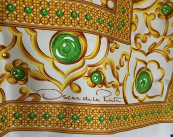 "Gorgeous vintage Oscar de la Renta 100% silk scarf in golds, greens on off white, 35"" x 35"", signed scarf, luscious"