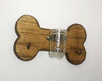 Rustic Dog Bone Treat Holder - Rustic Mason Jar Dog Bone - Dog Leash Holder - Wooden Dog Treat Jar - Mason Jar Wall Decor - Dog Wall Decor
