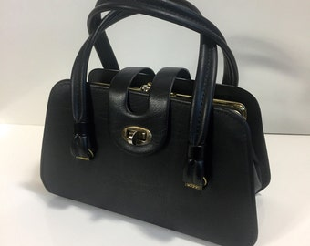 1950's Petite Black Leather Tri-Pocket Handbag with Kiss Lock and Gold Hardware