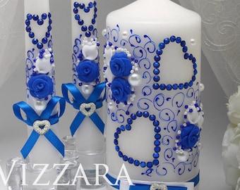 unity candle Blue Wedding Unity Candle Personalized Wedding Ceremony Blue vintage wedding White wedding Set Wedding Blue Candle Ceremony