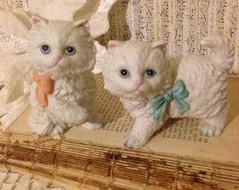 Vintage Homco Kitten Figurines~ Small Kitty Cat, White Kitten, Pink and Blue Bow, Collectible Cat Figurine, Kitten Statue, Nursery Decor