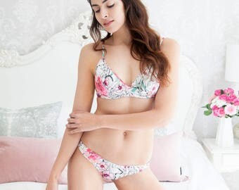 Luxury beautiful lingerie handmade in England. Unique printed silk knickers