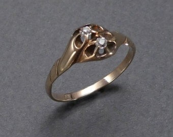 14K by pass diamond ring C 1890 size 9.5