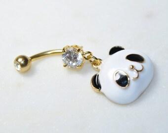 panda belly ring etsy