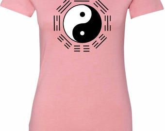 Yoga Clothing For You Yin Yang Trigrams Womens Longer Length Tee T-Shirt = 6004-TRIGRAMS