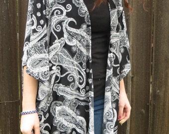 Black & White Paisley kimono wrap women's kimono Buttery Soft Silky Shawl Boho Bohemian