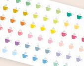 Colorful coffee stickers, tea sticker, teacup cup, planner stickers, drink sticker, bewerage eclp filofax happy planner kikkik