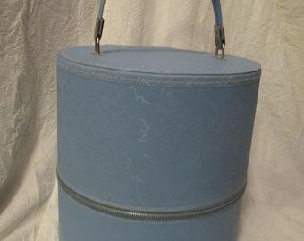 Vintage Light Blue Floral Travins hat box wig case zipper travel suitcase