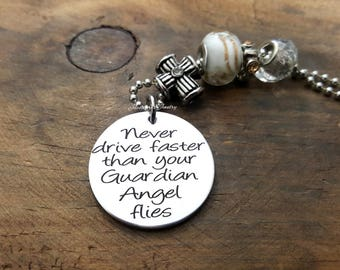 Never Drive Faster Than Your Guardian Angel Flies Car Charm, Rear-view Mirror Charm, Engraved Car Charm, Protection Charm, Sweet 16 Gift