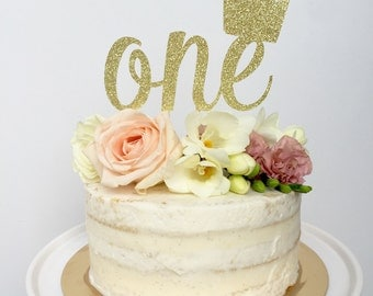 One Cake Topper with Crown, Crown Cake Topper, Customize Age Cake Topper, Personalized Cake Topper