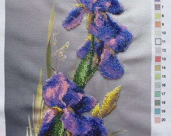 "Embroidery with beads ""Irises"" 7 ""х 11"" (19 cm x 29 cm) on fabric, embroidered with Czech and Japanese beads, handmade, a picture of beads"