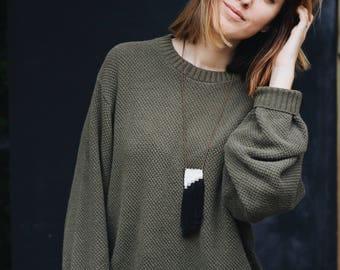 MAYA | woven necklace | fiber jewelry | mini tapestry