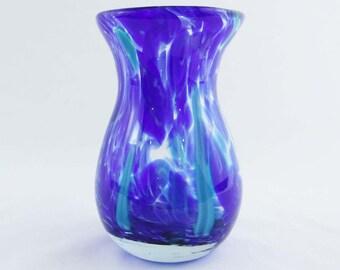 Art Glass Vase/Cobalt Blue Vase/Hand Blown Glass Vase/Turquoise/Thick Glass/Vintage