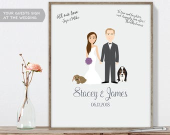 Wedding Guest Book Portrait / Personalized Portrait Guestbook / Bride, Groom / Custom Illustration ▷ Printable File {or} Printed & Shipped