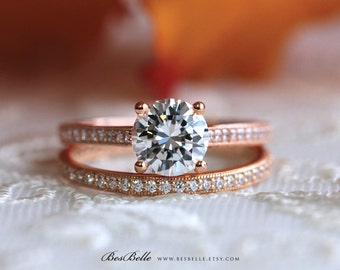 2.14 ct.tw Solitaire Set Ring-Brilliant Cut Bridal Set Ring-Milgrain Full Pave Set Eternity Ring-Rose Gold Plated-Sterling Silver [0654RG-2]