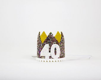 40th Birthday Crown | 40th Birthday Gifts for Women | Forty and Fabulous Hat | 40 and Fabulous | Kaleidescope White