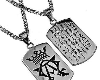 "Alpha Omega Dog Tag ""Strength"""