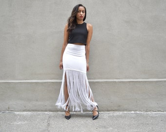 White Chandelier Fringe Skirt
