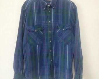Vintage Blue Plaid Flannel Shirt Cotton River Trader Large L
