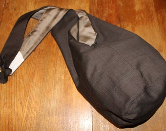 Brown (muted) plaid wool suiting crossbody bucket bag