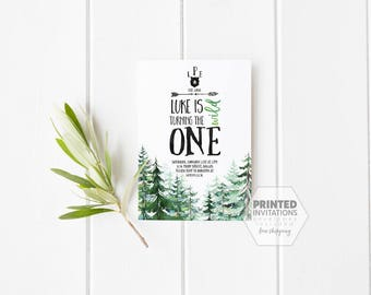Printed Set of Wild One Birthday Invitations- Bear- Boy- Mountains- Forest- First Birthday- Adventure- Watercolor-Envelopes Included