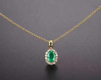 Oval Shaped Emerald Diamond Pendant in 18k Yellow Gold Mother's Day Wedding Birthday Anniversary Valentine's