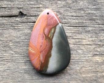 Succor Creek Jasper Pendant Bead - Freeform - Pink, Orange, Brown and Blue