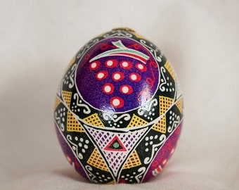 Traditional Ukrainian Easter Egg Pysanky Pisanki Grape clusters on Chicken egg Gift for the wine connoisseur,Christmas gift.Stand optional