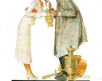 """Norman Rockwell painted Post Covers Bargaining and Vacation in 1934. The page is approx. 11 1/2"""" wide and 15"""" tall."""