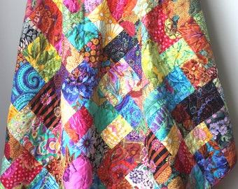 Kaffe Fassett Quilt-2nd Anniversary Gift-Modern Throw Quilt-Homemade Quilt-Get Well Gift-Second Anniversary-Quilt For Mom- Modern Lap Quilt
