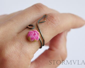 Peony ring Pink flower floral ring Peony jewelry Wire wrapped ring Polymer clay ring Flower ring Adjustable ring Peony Flower Gift ring