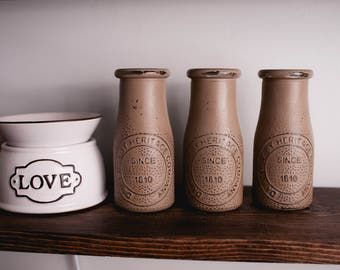 Farmhouse Decor- Milk Bottles- Country Cottage- Cottage Decor- Rustic Home Decor- Home Decor- Painted Milk Jars- Glass Vase- Dairy Jars