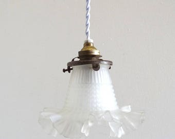 French Vintage 1900s Flower-Shaped Glass Pendant Light with White Braided Wire - Antique Art Nouveau Glass Ceiling Light