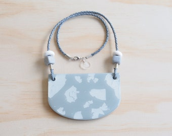 Resin Necklace | Wearable Art | Handmade | Silver & Grey