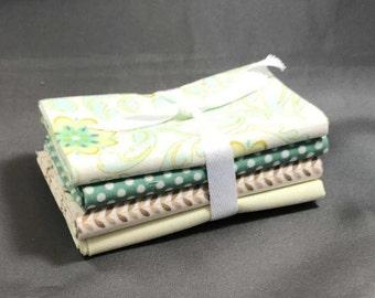 "Verona Fat Quarter Bundle by Emily Taylor for Riley Blake ~ 4 Green & Teal 18""x22"" PreCut Cotton Quilt Pieces"