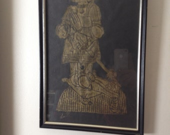 Signed Medieval Brass Rubbing of Thomas Golde d. 1525 Circa 1970's