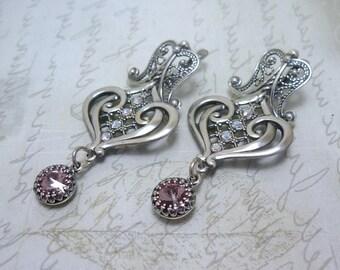 RESERVE Filigree earrings Antique silver plated earrings Dangle earrings Victorian Teardrop earrings Ornate earrings Oriental earrings